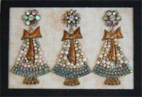 ~*~Vintage Jeweled Christmas Tree Trio~*~*~*~*~*~*~*~*~*~*~*~*~*~*~* Pearls and rhinestones, with three rhinestone scatter pins as tree toppers. ~*~*~*~*~*~*~*~*~*~*~*~*~*~*~*