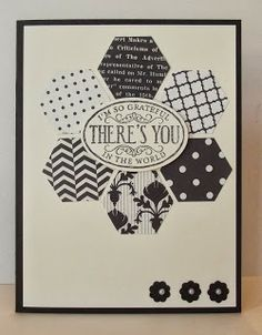handmade greeting card from stamping sanity ... black and white ... hexagon flower with oval sentiment on top ... large hexagons punched from black and white print papers ... three tiny punched flowers with pearl centers on the corner  ... great card! ... Stampin Up!