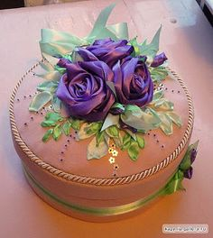 Recycle or upcycle an old vintage fabric hat box with 3D ribbon embroidery. Beautiful!