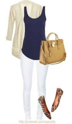 """Blue Tank & Leopard Flats"" by casuality on Polyvore- love this outfit, would prob choose different shoes though"