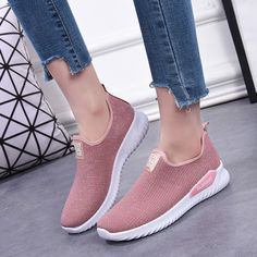 Women Outdoor Running Breathable Mesh Slip On Flat Shoes Sketchers Shoes Women, College Shoes, Outdoor Woman, Types Of Shoes, Ladies Day, Queen, Shoes Online, Casual Shoes, Slippers