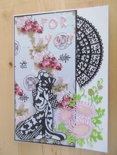 Geisha Card (Site: photo only) (Note to self: Geisha die is from Tattered Lace) Asian Crafts, Tattered Lace Cards, Scrapbook Cards, Homemade Cards, Oriental, Projects To Try, Card Making, Stamp, Geisha
