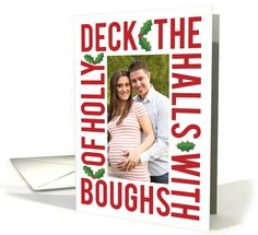 Deck the Halls Customizable Photo Christmas Card, Red Modern Type card