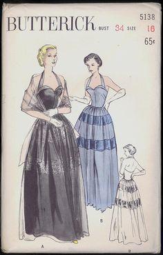 Uncut 1950s Size 16 Bust 34 Evening Gown Bouffant Halter Neck