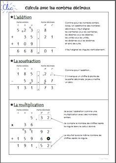 Calculs posés avec les nombres décimaux