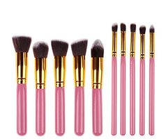Gacals Deed Cosmetics Foundation Blending Blush Eyeliner Face Powder Brush Makeup Brush Kit PinkGold ** You can find more details by visiting the image link.