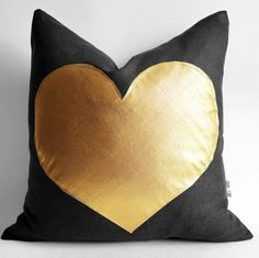 Sukan / GOLD AND BLACK Heart Pillow - love heart pillow - heart shaped pillow online - valentine pillow - heart shaped throw pillows -
