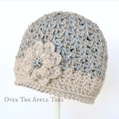 V-stitch Winter Beanie, free pattern, Over The Apple Tree ༺✿�