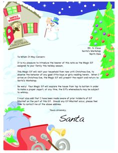 Letters for Starting and Finishing Elf on the Shelf