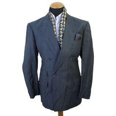 VINTAGE Christian Dior Sakko gr 102 Suit Jacket Kariert Blazer 44L Wolle Leinen