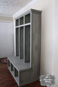 Beau Custom Mudroom Lockers ~ $850 #mudroom #storage #entryway #distressedgray  #chalkpaint