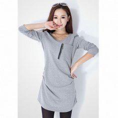 $9.40 Fashionable Side Crease Design Zipper Embellished V-Neck Long Sleeves Dress For Women