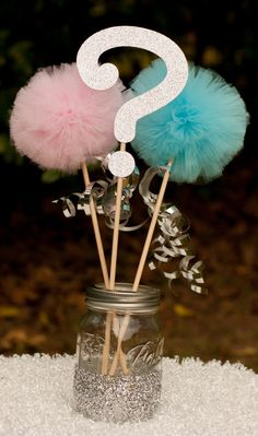 Gender Reveal Party Decoration Centerpiece by GracesGardens Gender Reveal Box, Gender Reveal Themes, Gender Reveal Party Decorations, Baby Gender Reveal Party, Gender Party, Diy Party Decorations, Baby Reveal Party Ideas, Fiesta Baby Shower, Baby Shower Parties