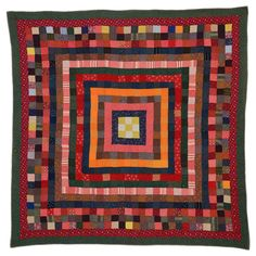 Concentric Squares Quilt | From a unique collection of antique and modern quilts at https://www.1stdibs.com/furniture/folk-art/quilts/