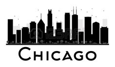 Chicago City Skyline Black And White Silhouette. Stock Vector - Illustration of architecture, landscape: 63040020 Chicago At Night, Chicago City, Chicago Skyline, Skyline Silhouette, Silhouette Vector, Silhouette Painting, Skyline Painting, Black And White City, Posters