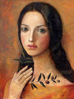 "Saatchi+Online+Artist+Victoria+Francisco;+Unknown,+""Girl+with+olive""+#art"