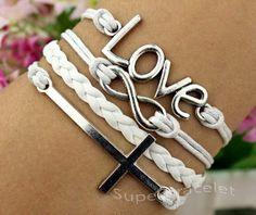 love braceletInfinity bracelet  white braid by superbracelet, $4.99