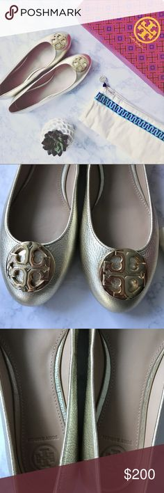 Tory Burch Claire Ballet Flats Size 8.5, spark gold flats, new in box with dust bag, never worn. Tory Burch Shoes Flats & Loafers