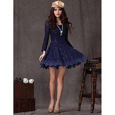 Women's Temperament Long Sleeved Lace Dress - USD $ 28.19