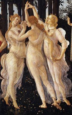 Botticelli. Primavera. Le tre Grazie #Botticelli