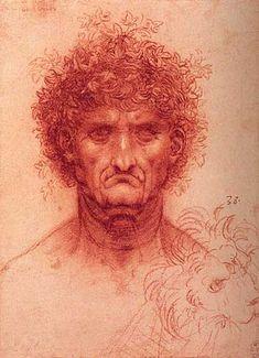 Leonardo Da Vinci Character Head of an Older Man and Sketch of a Lions Head, c.1505-1510 Leonardi Da Vinci Yaşlıca Bir Erkeğin Başı ve Bir Aslan Başı Taslağı, 1505-1510