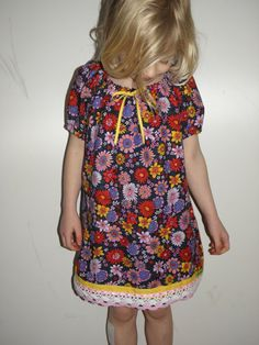 Girl's Smock Dress Made With Vintage Fabric Age 67 by wonderbugs, $32.00