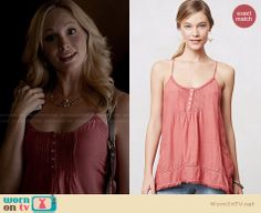 Caroline's pink pintuck henley cami on The Vampire Diaries. Outfit Details: http://wornontv.net/21376 #TheVampireDiaries #fashion