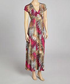 702ffd7bf4 Another great find on  zulily! Burgundy   Beige Smocked Maxi Dress   zulilyfinds Lovely