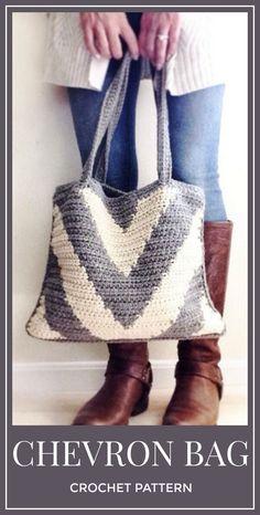 Crochet Pattern, Crochet Chevron Bag Pattern, Crochet Bag Pattern, Crochet, Crochet Pattern, Crochet Tote Pattern, Crochet  Winter Bag #crochet #crochetpattern #bag #affiliate #tote
