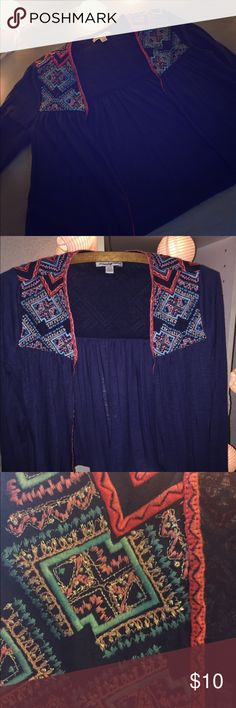 Embroidered Bolero Style Cardigan Navy colored, open cardigan with beautiful embroidered Aztec inspired pattern across shoulder and back of top. Light and flowy fit. American Eagle Outfitters Sweaters Cardigans