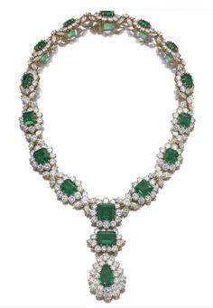 Bulgari Emerald, Diamond and Platinum Necklace