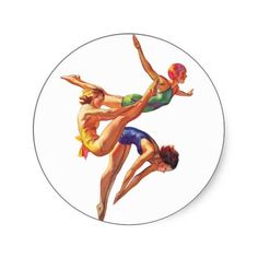 Retro Vintage Sports Diving Swimmers Diving Art Stickers