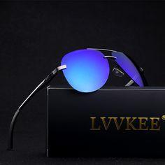090555b654 LVVKEE Brand Aluminum Magnesium Polarized lens Sunglasses or Men s Driving  Sun glasses Female Outdoor rays Eyewear Original logo