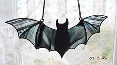 Halloween Window Decoration Stained Glass Bat Suncatcher