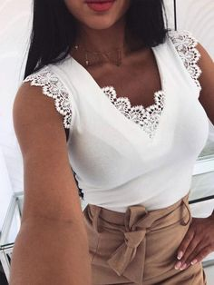 Fashion Women Sleeveless Shirt Casual Lace Blouse Loose Tops Shirt Ladies Backless Lace Up Blouse Summer Top Trend Fashion, Womens Fashion, Lace Vest, Loose Tops, V Neck Tops, Clothes For Women, Ladies Tops, Outfits, Tank Tops