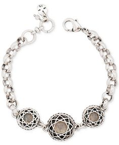 Lucky Brand Silver-Tone Clear Quartz Stone Bracelet