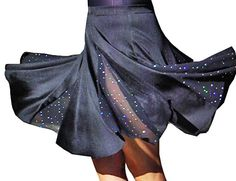 Latin Dance Costume. latin dance skirt with dotted sequins fabric