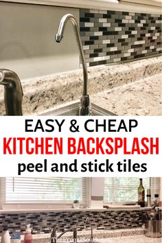 The best DIY backsplash with peel and stick tiles! Adhesive tiles are the easiest cheap backsplash idea. Just cut them with scissors and stick them to your wall for an easy kitchen backsplash. Bathroom backsplash tiles too. Kitchen Backsplash Peel And Stick, Backsplash Cheap, Glass Tile Backsplash, Peel And Stick Tile, Glass Tiles, Stick On Tiles Bathroom, Backsplash Ideas For Kitchen, Wall Tiles, Adhesive Backsplash
