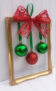 Christmas Picture Frame Wreath by OddsNEndsbyAly on Etsy