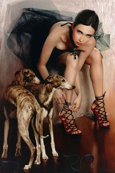 Artist: Andrei Belichenko {contemporary #hyperreal female figure woman whippet dogs painting}