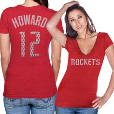 Majestic Threads Dwight Howard Houston Rockets Women's Name and Number Premium Slim Fit Tri-Blend V-Neck T-Shirt - Red - $11.99