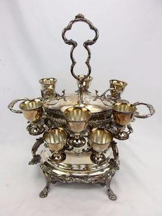 Antique Victorian Silverplate Egg Coddler Warmer w/10 Egg Cups & Nesting Rack
