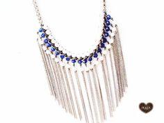colar#franjas#azul cobalto#pérola #necklace
