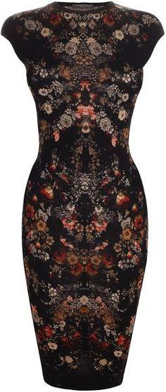 Alexander Mcqueen Black Floral Print Pencil Dress