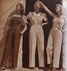 Vintage Fashion casual overalls, with a striped T-shirt, white blouse, or no shirt (gasp!) - The history of women's vintage overalls from the and and where to buy vintage style overalls online. Moda Vintage, Vintage Outfits, Vintage Dresses, Vintage Pants, 1940s Costume, 40s Mode, Retro Fashion, Vintage Fashion, 1940s Fashion Women