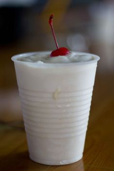 Alabama Bushwacker: 2 scoops vanilla ice cream, light rum, coconut rum, Kaluha, and Bacardi 151.