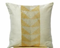 Valentine SALE Ivory white throw pillows with gilver geometric embroidery -Decorative gold silver pillow cover- Cushion cover zipper - Throw Teal Throw Pillows, Silver Pillows, White Pillows, Decorative Pillow Covers, Decorative Throw Pillows, Geometric Embroidery, White Throws, Pillow Cover Design, Designer Pillow
