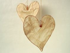 Silk Heart Decoration in Natural Tussah Silk Fusion from hypsela on etsy