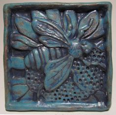 HONEY BEE Ceramic Wall Art Tile, Antique Turquoise, Ceramic Wall Art Plaque, Handmade Old World Tile, This Tile Is Made To Order! Clay Tiles, Mosaic Tiles, Art Tiles, Art Nouveau Tiles, Ceramic Wall Art, Wall Tile, Metal Tree Wall Art, Bee Art, Handmade Tiles