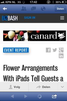 iPad bij boeket geeft uitleg. http://www.bizbash.com/flower-arrangements-with-ipads-tell-guests-a-story/miami/story/28142?#.UzMDfae9Kc0